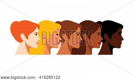 Multi-ethnic Beauty. Different Ethnicity Women: African, Asian, Chinese, European, Latin American, A