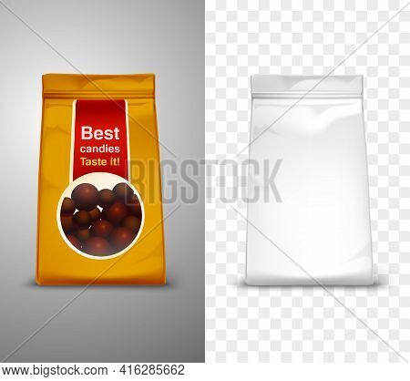 Blank Packaging Design With Best Candies Pack For Example Realistic Isolated Vector Illustration