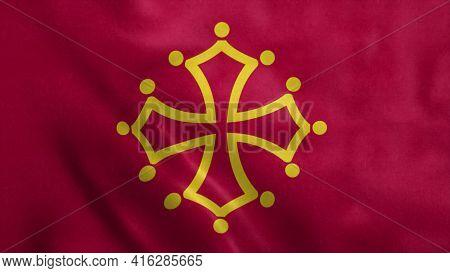 Midi Pyrenees Region Waving Flag. Realistic 3d Illustration Background.