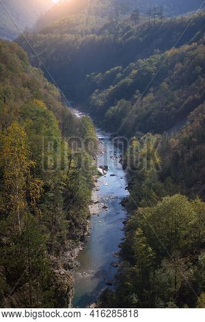 Scenic Panoramic View Of The Canyon Of The River Tara In Montenegro. European Travel.