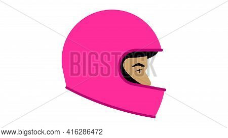 Woman In Helmet. Motorcycle Helmet. Pretty Biker. Head Protection While Riding A Motor Vehicle: Bicy