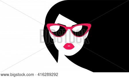 Abstract Art Poster With Female Face - Red Lips, Teeth, Modern Glasses, White Skin, Long Black Hair.