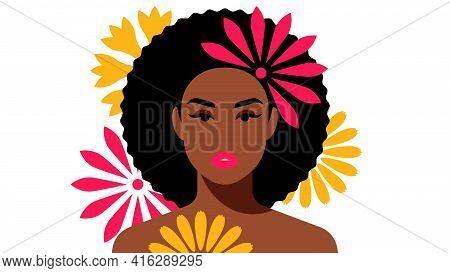 Portrait Of Beautiful Dark Skinned Women With Flower In Curly Hair. Brunette, Short Afro Hair. Femal