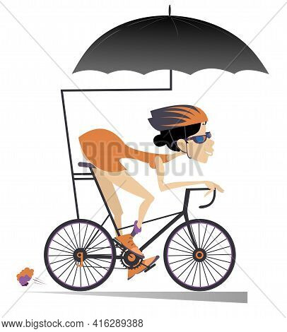 Cartoon Woman Rides A Bike Under An Umbrella Isolated. Smiling Woman In Helmet And Sunglasses Rides
