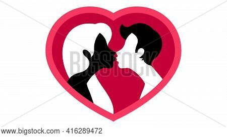 Silhouette Of People Kissing On The Background Of Giant Red Heart. Abstract Young Couple, Male And F