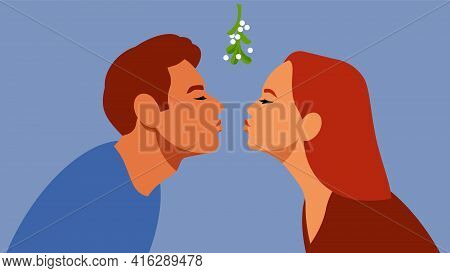 Kissing Under Mistletoe Branch. The Guy And The Girl Are Kissing. A Gentle First Kiss. Relations, Lo