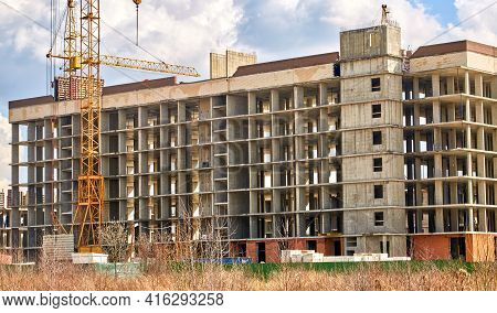 Construction Of A Multi-storey Building In A Vacant Lot. Housing Construction.