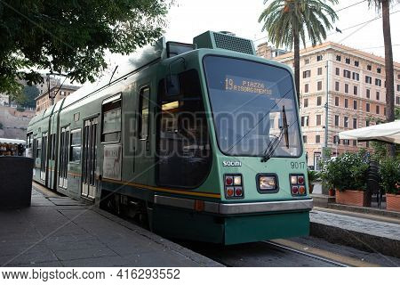 Rome, Italy - October 30, 2013: Socimi T8000 Tram On Line 19 At Piazza Risorgimento In Rome, Italy.