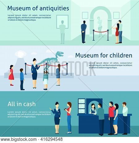 Archeological Museum Of Antiquity  And Natural Science Exposition For Children Flat Banners Set Abst