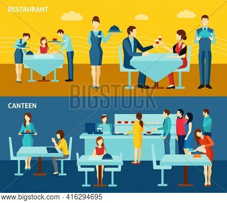 Restaurant Canteen Catering Service For Public And Personnel 2 Flat Banners Composition Poster Abstr