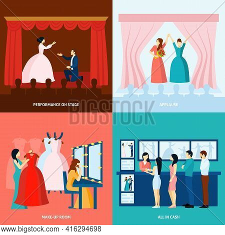 Theater Performance Approving Applause And Tickets At The Door 4 Flat Icons Square Banner Abstract V