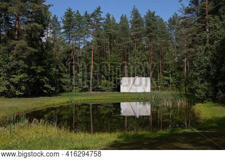 Vilnius, Lithuania - August 31, 2019: Sculpture Double Negative Pyramid By Sol Lewitt In The Open Ai