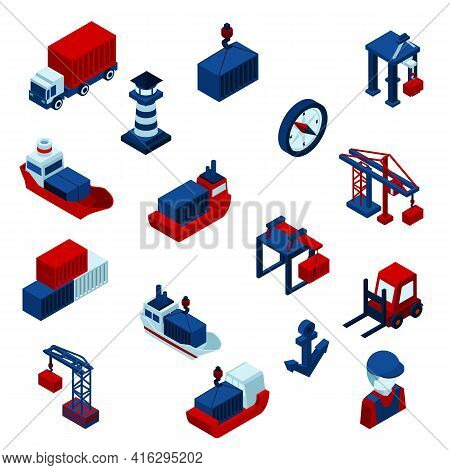 Isometric  Color Seaport  Icons Set With Barge Containers And Port Facilities Isolated Vector Illust
