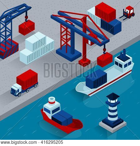 Seaport Cargo Loading  Isometric Concept With Working Port Facilities Vector Illustration