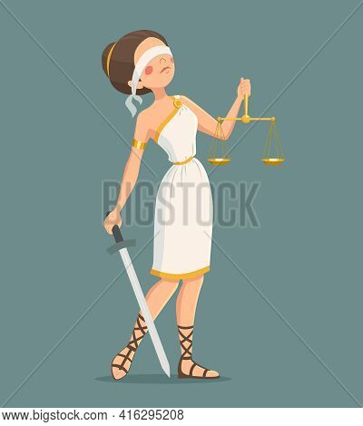 Blindfolded Greek Justice Lady With Sword And Scales Cartoon Vector Illustration