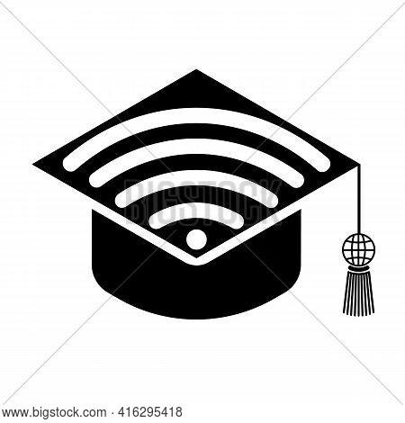 Graduate Hat With Wi-fi Icon. Distance Learning Alumni Symbol Due To Quarantine. Vector Black Icon O