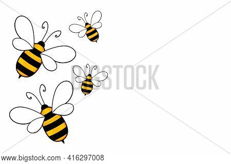 Cartoon Cute Bee Mascot. Merry Bee With An Empty Table. Small Wasp. Vector Character. Insect Icon. H