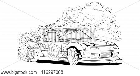 Coloring Page Vector Line Art Illustration Car For Book And Drawing. Black Contour Sketch. Isolated