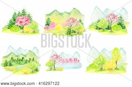 Watercolor Spring Landscape, Mountains, Hills And Sakura Pink Flowers Trees Set, Green Nature Forest