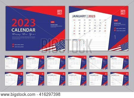 Set Desk Calendar 2023 Design, Calendar 2023 Template, Set Of 12 Months, Blue Cover Design, Wall Cal