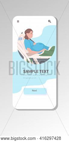 Pregnant Woman Lying In Hospital Bed Before Childbirth Maternity Pregnancy Concept Smartphone Screen