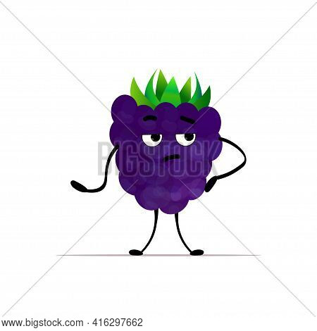 Cute Fresh Juicy Blackberry Character Tasty Ripe Berry Fruit Mascot Personage Isolated On White Back