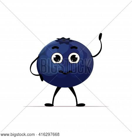 Cute Fresh Juicy Blueberry Character Tasty Ripe Berry Fruit Mascot Personage Isolated On White Backg