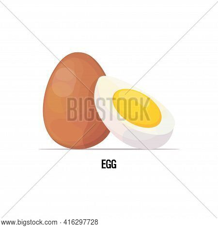 Fresh Chicken Whole And Boiled Peeled Egg With Yolk Isolated On White Background Healthy Nutrition C