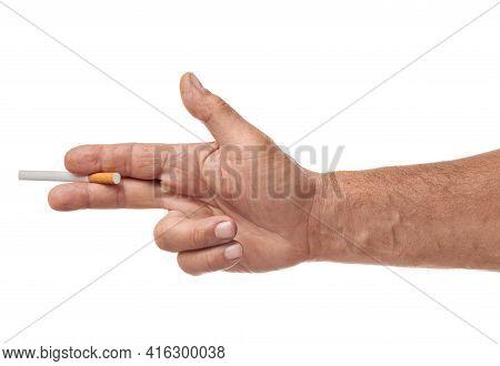 Man Holding A Cigarette Like A Gun, Anti Smoking