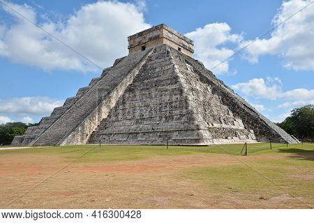 Temple Of Kukulkan, Pyramid In Chichen Itza, Yucatan, Mexico. The Temple Of Kukulkan Usually Named A