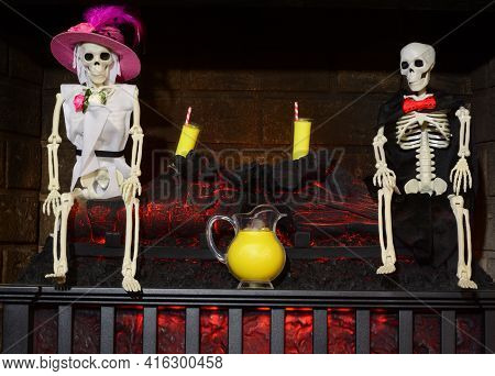 Skeleton Lemonade Party In Corner Of Hell With Burning Fireplace With Couple, Lemonade Glasses And P
