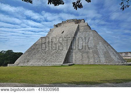 The Pyramid Of The Magician, Uxmal, Yucatan Peninsula, Mexico. The Adivino (the Pyramid Of The Magic