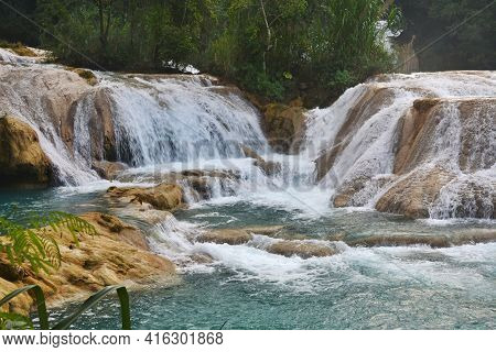 Agua Azul Cascades Waterfall Is Located 64 Km From Palenque, Yucatan  Peninsula, Mexico.