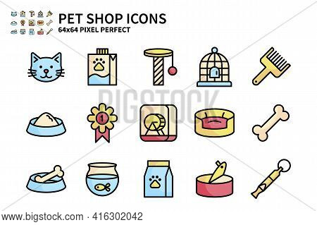 Simple Set Of Pet Shop Vector Line Filled Color Icons. Contains Icons Like Cat Head, Pet Milk, Bird