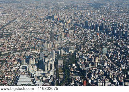 An Aerial View Of Paseo De La Reforma In Mexico City.