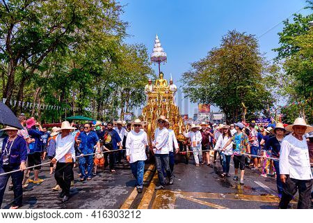 Chiang Mai Songkran Festival.the Tradition Of Bathing The Buddha Phra Singh Marched On An Annual Bas