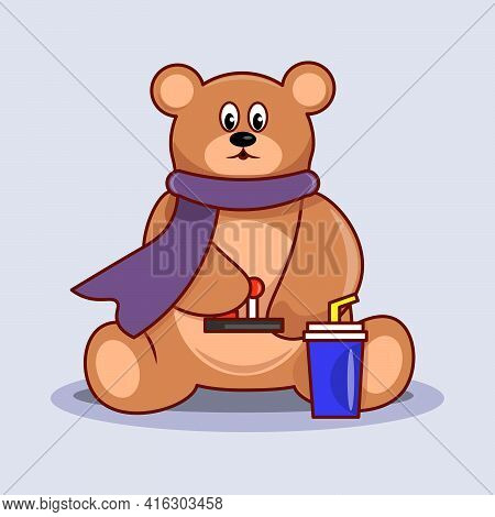 Bear With Drink Teddy Bear With Controller. A Bear Is Playing Video Game.