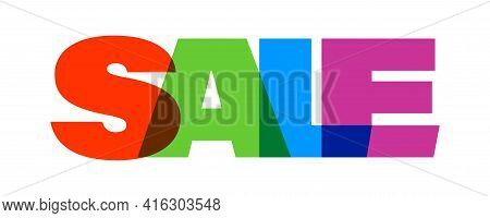 Sale. Multicolor Overlay Effect. Text Design In Retro Sixties Years Style. Vector Illustration