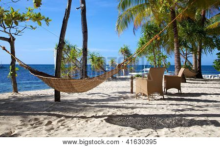 Hammock On A White Sand Tropical Beach On Malapascua Island, Philippines