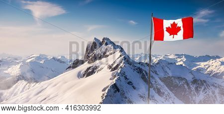 Canadian National Flag Overlay. Mountain Landscape In Winter. Bright Sunny Sky. Background From Tant