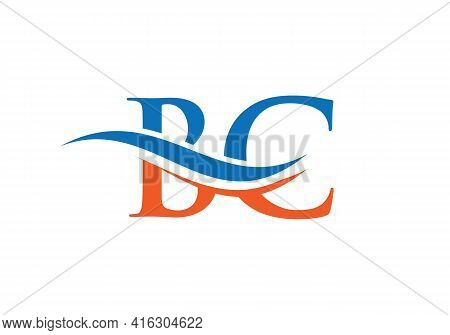 Swoosh Letter Bc Logo Design For Business And Company Identity. Water Wave Bc Logo With Modern Trend