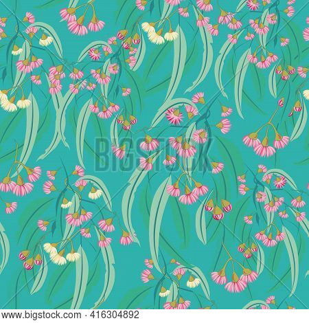 Pink Eucalyptus Blossom Seamless Vector Repeat Pattern. Vector Illustration Perfect For Fabric, Appa