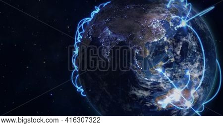 Composition of glowing blue network of connections over globe. global networks of connections and technology concept digitally generated image.