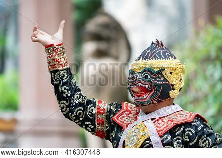 The performance of Thai traditional drama story Khon epic, Ramakien or Ramayana with Hanuman (white monkey) and others.
