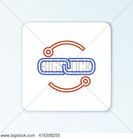 Line Chain Link Line Icon Isolated On White Background. Link Single. Colorful Outline Concept. Vecto