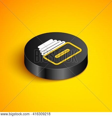 Isometric Line Drawer With Documents Icon Isolated On Yellow Background. Archive Papers Drawer. File