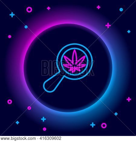 Glowing Neon Line Magnifying Glass And Medical Marijuana Or Cannabis Leaf Icon Isolated On Black Bac