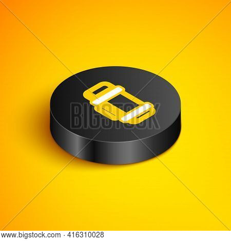 Isometric Line Thermos Container Icon Isolated On Yellow Background. Thermo Flask Icon. Camping And