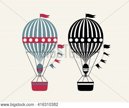Aerostat Illustration. Black And White, Colorful Hot Air Balloons. Vector Illustration Isolated On W