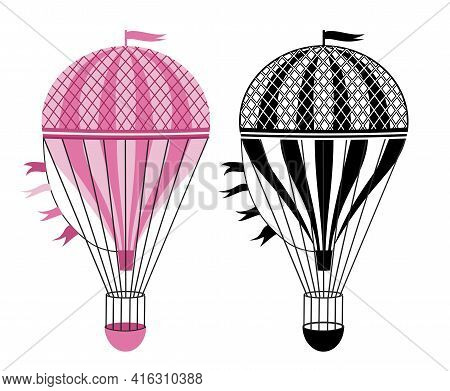 Black And White, Colorful Hot Air Balloons. Aerostat Illustration. Vector Illustration Isolated On W